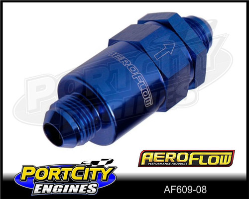 Aeroflow 30-micron Billet Inline Fuel Filter assembly -8AN fittings AF609-08