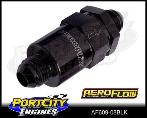 Aeroflow 30-micron Billet Inline Fuel Filter assembly -8AN fittings AF609-08BLK