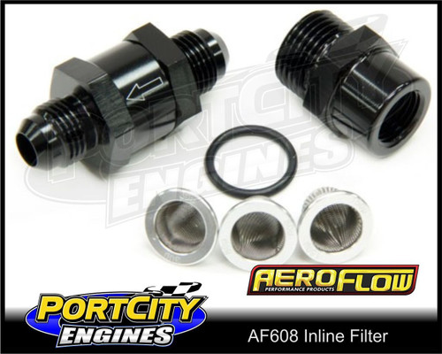 Aeroflow Alloy Inline Fuel & Oil Filter Assembly -8AN 30 80 150 micron AF608-08BLK