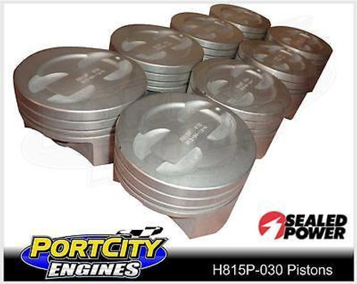 Sealed Power Dish Top Piston set for Chev V8 S/B 350 .030 Oversize H815P-030