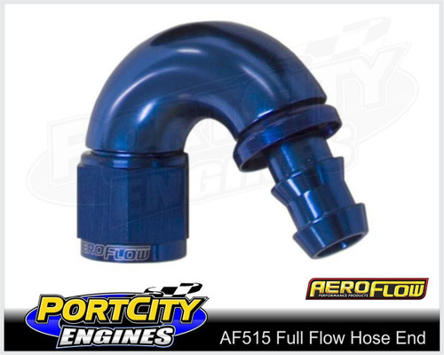 Aeroflow Alloy Full Flow Push Lock Hose End 150° -4AN 510 series AF515-04