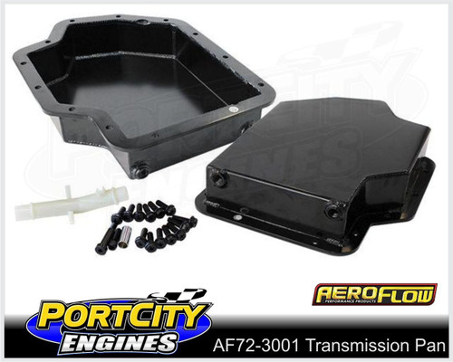 """Aeroflow Fabricated Alloy Transmission Pan Suit GM Turbo 400 3"""" Deep AF72-3001BLK"""