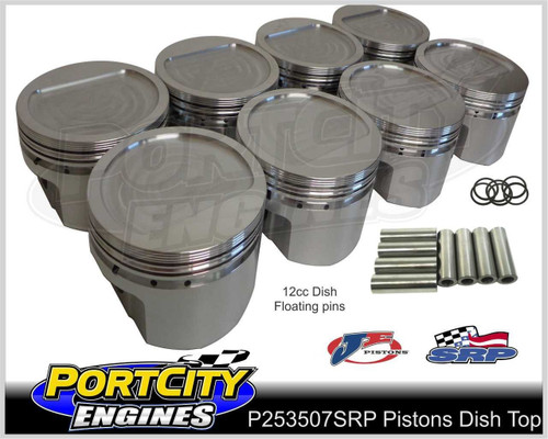 "Forged Alloy Dish Top Pistons Holden V8 355 Stroker 12cc w/5.7"" Rod P253507SRP"