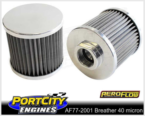 """Aeroflow Alloy Breather with Stainless Steel 40 micron element 3"""" AF77-2001"""