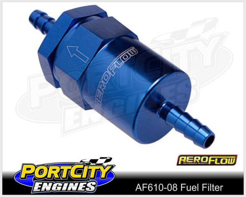 "Aeroflow 30 Micron Alloy Fuel Filter assembly 1/2"" Barb AF610-08"