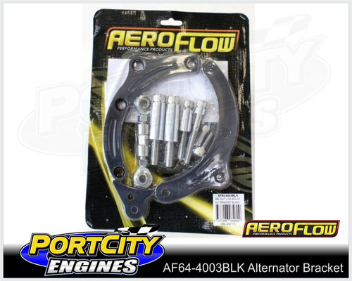 Aeroflow Alloy Alternator Bracket Chev V8 BB Low Mount Short Pump AF64-4003BLK