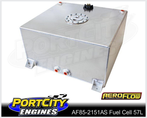 Aeroflow Alloy Fuel Cell 15 gallon 57L with Flat Bottom & Fuel Sender AF85-2151AS