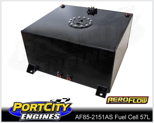 Aeroflow Alloy Fuel Cell 15 gallon 57L with Flat Bottom & Fuel Sender AF85-2151ASBLK