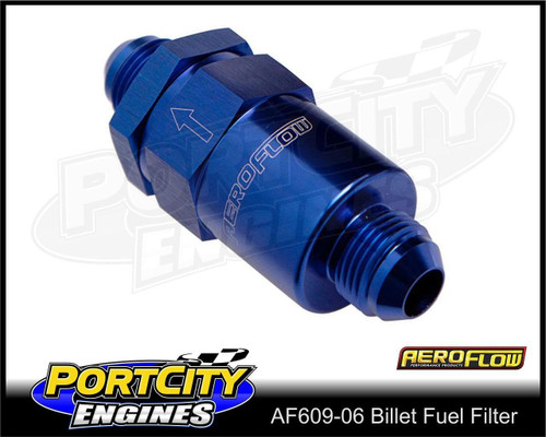 Aeroflow 30-micron Billet Inline Fuel Filter assembly -6AN fittings AF609-06