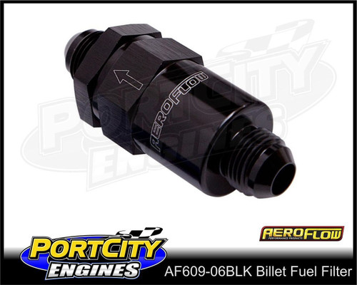Aeroflow 30-micron Billet Inline Fuel Filter assembly -6AN fittings AF609-06BLK