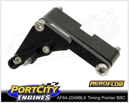 "Aeroflow Adjustable Timing Pointer 7"" Chev BB V8 396 402 427 454 502 AF64-2048BLK"