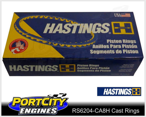 Hastings Cast Piston Ring Set for Holden V8 LS2 L76 L77 L98 6.0L Shallow RS6204