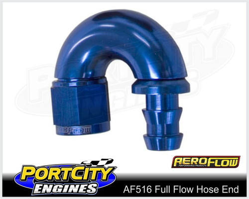 Aeroflow Alloy Full Flow Push Lock Hose End 180° -12AN 510 series AF516-12