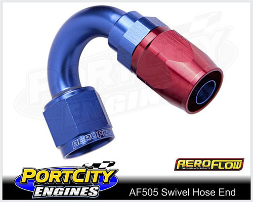 Aeroflow Alloy Cutter Style Swivel Hose End 150° -4AN 500 series AF505-04