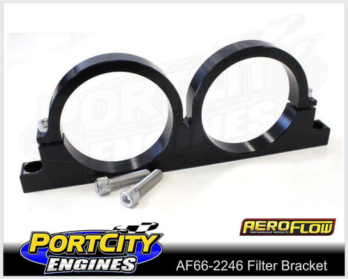 "Aeroflow Alloy Double Filter Bracket suit 2.5"" Filter Remote Reservoir AF66-2246BLK"