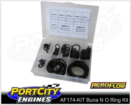 Aeroflow Buna N Rubber O Ring Kit -3AN to -20AN Petrol Alcohol Ethanol AF174-KIT