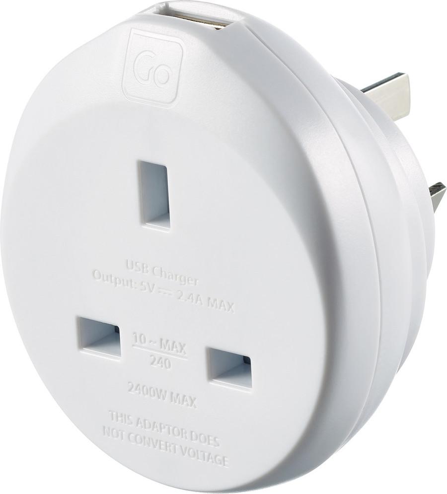 UK-AUS Adaptor + USB