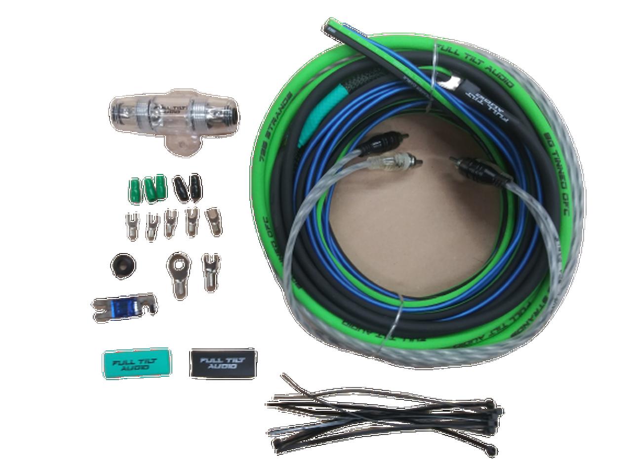 FULL TILT 8 GAUGE AWG LIME GREEN/BLACK AMPLIFIER/AMP WIRE KIT