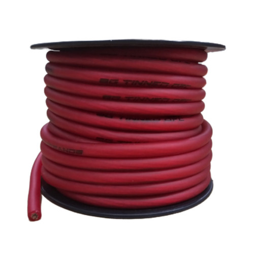 Full Tilt Audio Red 8 Gauge 50 Foot Tinned OFC Oxygen Free Copper Power/Ground Cable/Wire