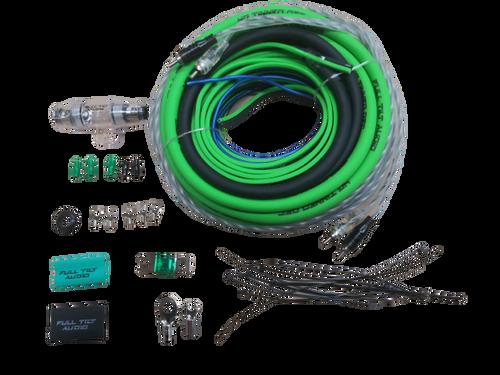 FULL TILT 4 GAUGE AWG LIME GREEN/BLACK AMPLIFIER/AMP WIRE KIT