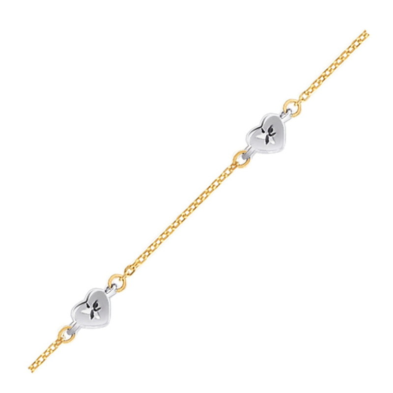 14k Two Tone Gold Anklet with Diamond Cut Heart Style Stations, size 10'' P150-80966-10
