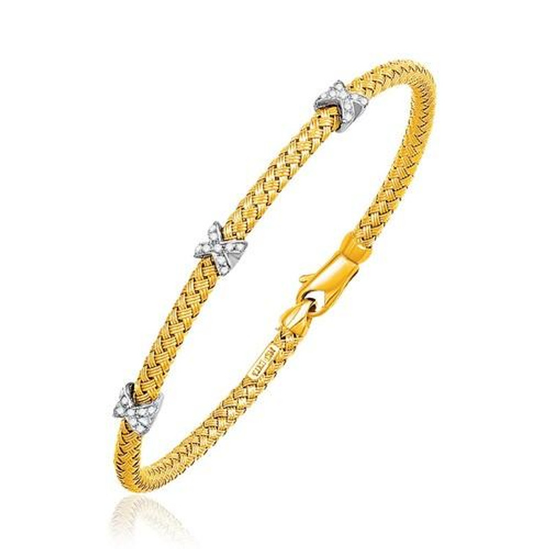 Basket Weave Bangle with Cross Diamond Accents in 14k Yellow Gold (4.0mm), size 7.25'' P150-65230-7.25