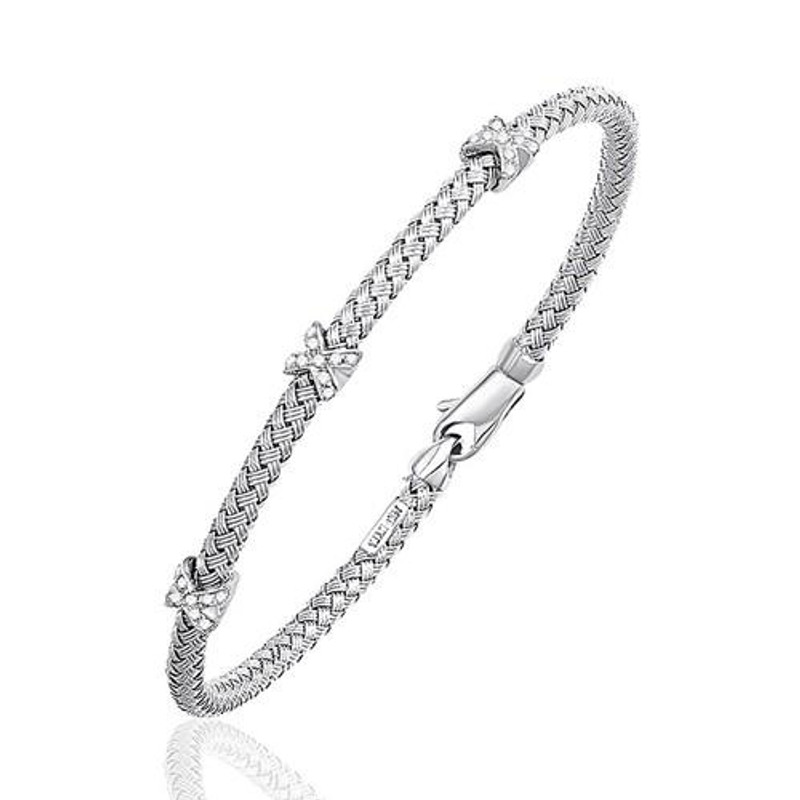 Basket Weave Bangle with Cross Diamond Accents in 14k White Gold (4.0mm), size 7.25'' P150-96448-7.25