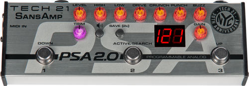 Tech 21 SansAmp PSA 2.0 Programmable Guitar Pre-amp Pedal open box
