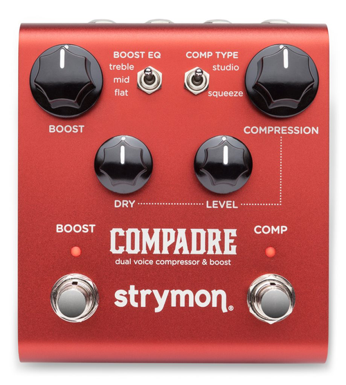 Strymon Compadre Dual voice compressor and Boost guitar pedal store display