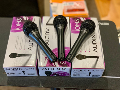 3 Audix OM3 Professional Hypercardioid Dynamic Microphones