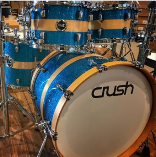 Crush Sublime Birch 4 piece 615 Blue sparkle with natural stripe drum set