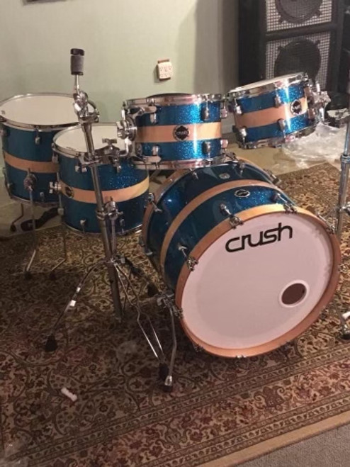 Crush Sublime Birch 5 piece 615 Blue sparkle with natural stripe drum set