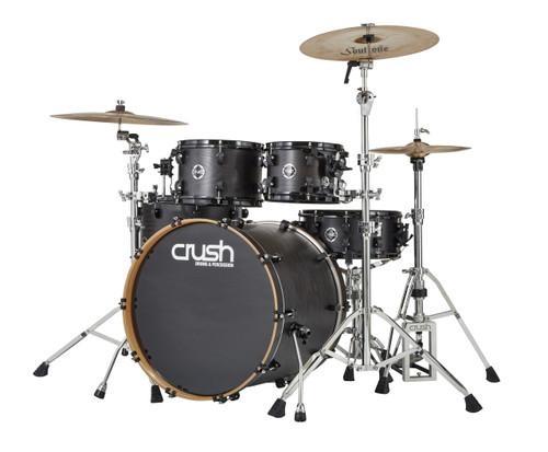 Crush Chameleon Ash 5 piece drum kit Trans Satin Black