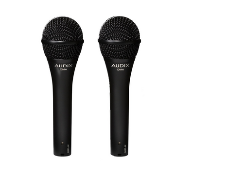 2 pack of Audix OM6 Dynamic Concert level professional vocal microphones