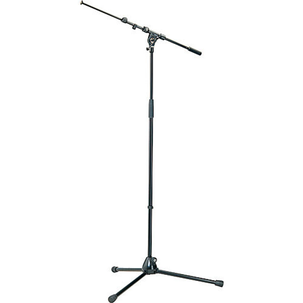 K&M 210/9 Tripod Microphone Stand with Telescoping Boom Black