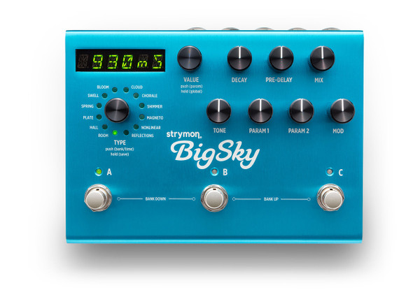 Strymon BigSky Reverberator guitar pedal display open box