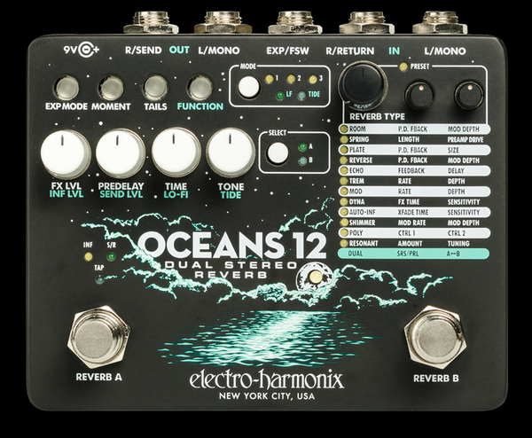 Electro-Harmonix Oceans 12 Dual Stereo Reverb effects pedal store display