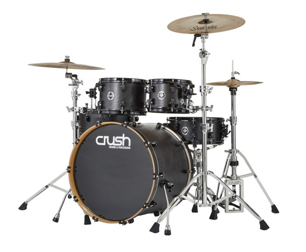 Crush Chameleon Ash 5 piece drum kit Trans Satin Black