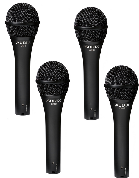4 pack Audix OM3 Professional Hypercardioid Dynamic Microphones