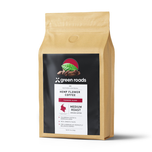 Green Roads Founders' Blend Hemp Flower coffee in a 12oz bag