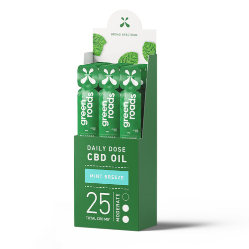 Green Roads Daily Dose CBD Oil 12-pack in broad spectrum Mint Breeze flavor