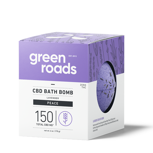 Green Roads large CBD Bath Bomb - PEACE (lavender)