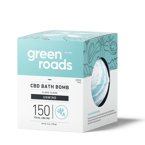 Green Roads large CBD Bath Bomb - Unwind (ylang ylang)