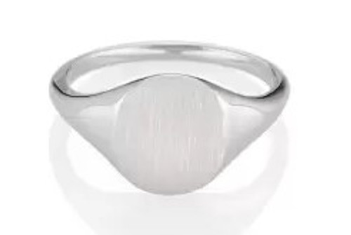 14K WHITE GOLD ROUND SIGNET RING