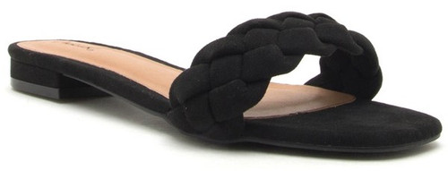 BLACK BRAIDED FLAT SANDAL