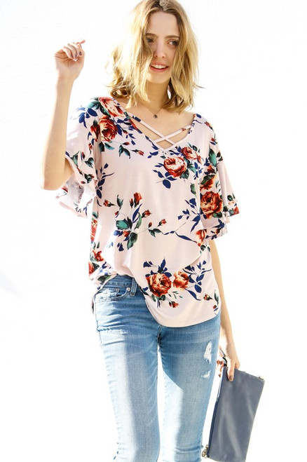 RUFFLE SLEEVE FLORAL PRINT KNIT TOP