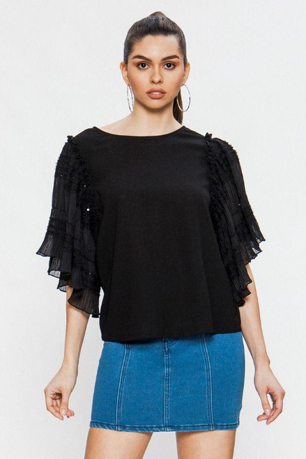 WOMEN'S ROUND NECK SEQUIN AND TULLE PLISSE SLEEVES
