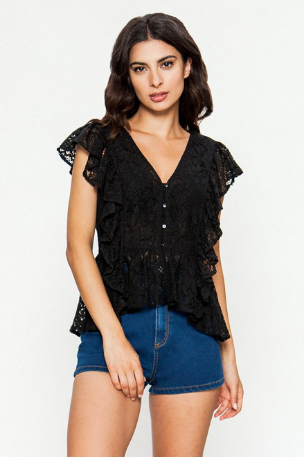 WOMEN'S BLACK ALL LACE TOP