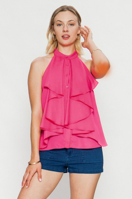 Button Down Sleeveless Pleated Blouse