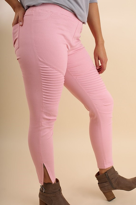 Curvy Pink Washed Motto Jeggings